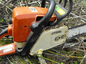 older Stihl chainsaw closeup