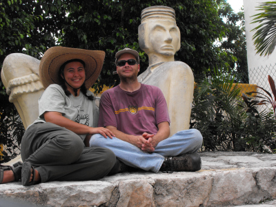 Mark and me, posing against a replica Mayan statue