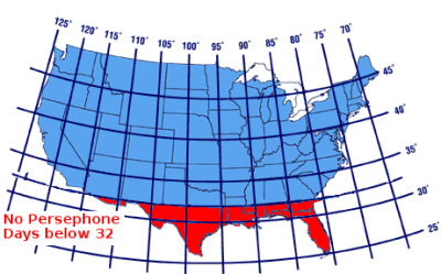 Location of Persephone days on a map of U.S. with latitude