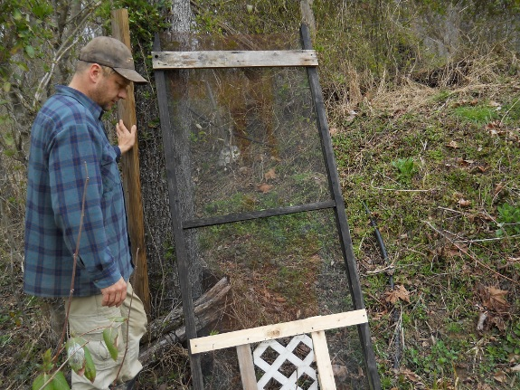 Chicken pasture gate with alternative DIY dog door installed