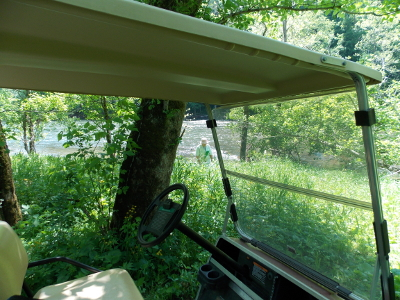 Golf cart at the river