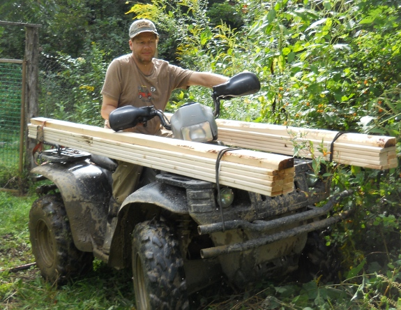 using ATV to haul lumber
