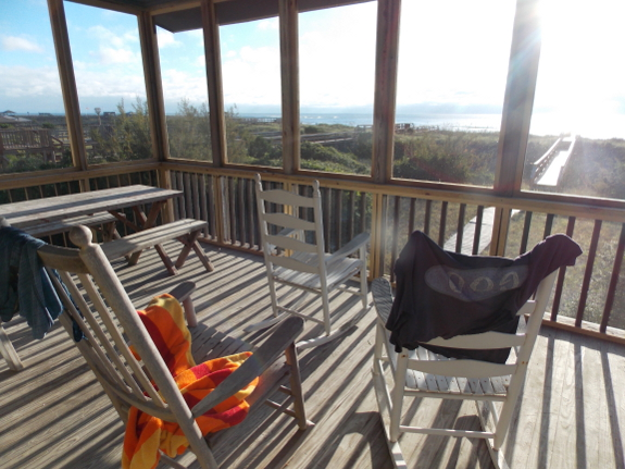 Rocking chair and beach towel
