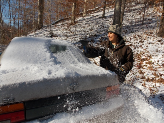 scraping ice off the car window