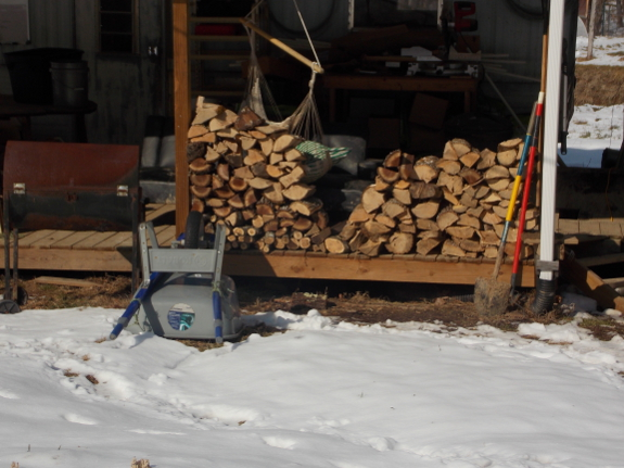 Firewood on the porch