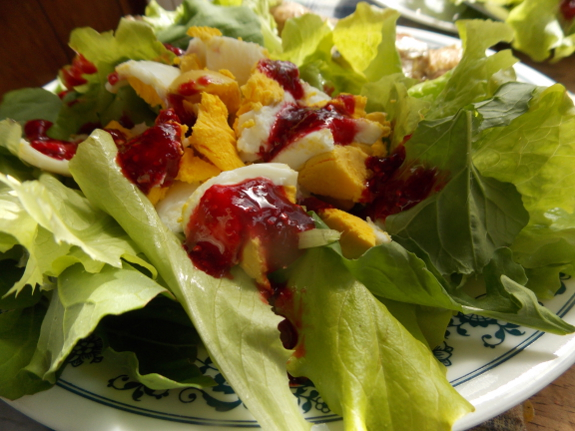 Raspberry jam on salad