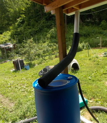 Channeling water into a rain barrel