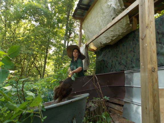 Cleaning out the composting toilet