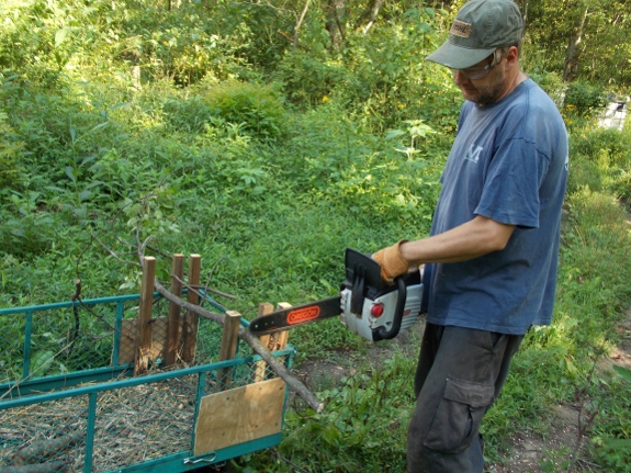 using new firewood guide with battery powered chainsaw