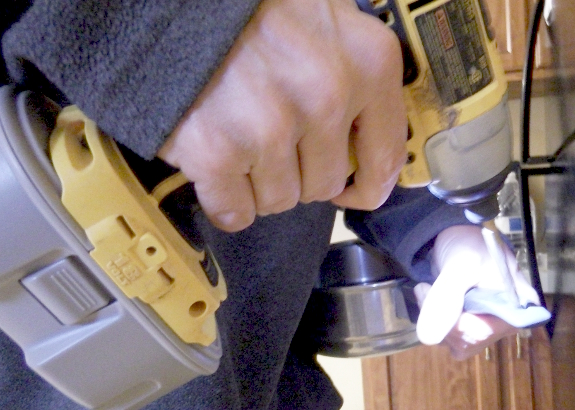 Drilling out a pot handle
