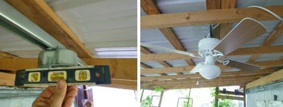 Slanted roof ceiling fan installation
