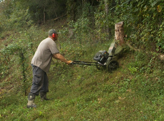 mowing on a hill